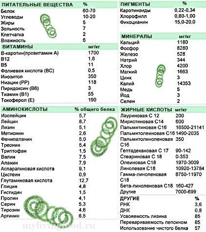 Химический состав спирулины