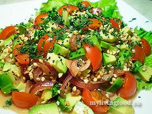 Салат с гречкой - рецепты сыроедов
