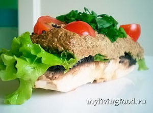 Оригинальный бутерброд из портобелло