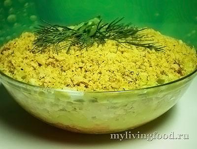 Сыроедческий слоеный салат «Мимоза»