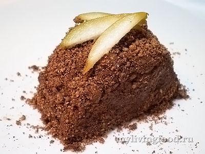 Сыроедческое слоеное пирожное из груши