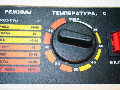 Регулируемый термостат в дегидраторе