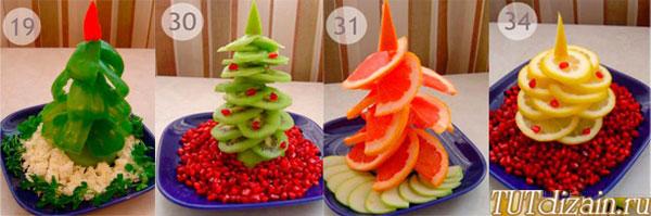 Простые ёлочки из овощей и фруктов