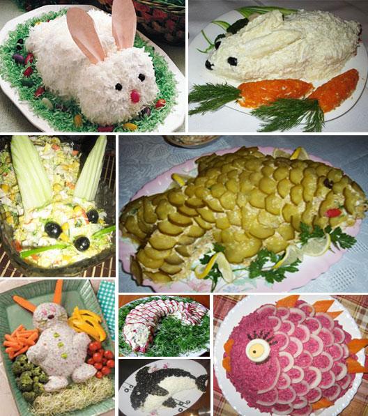 Салаты в виде кролика или рыбки