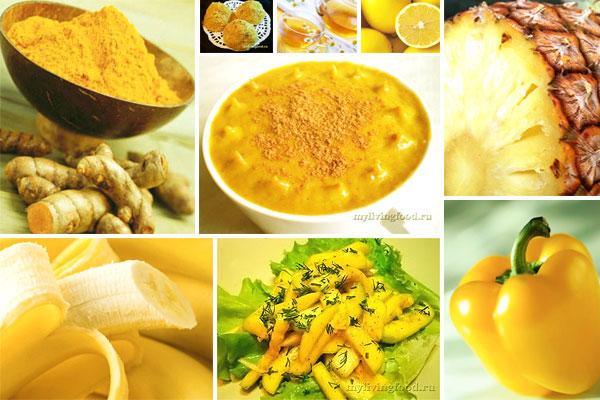 Продукты желтого цвета