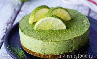 Зеленый творожный чизкейк