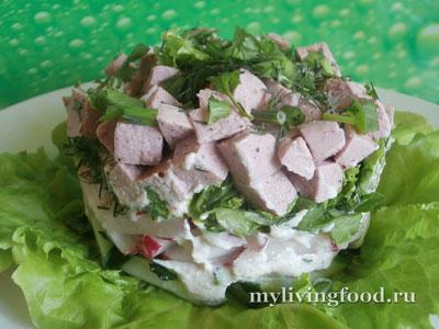 Салат с колбасой по-сыроедчески