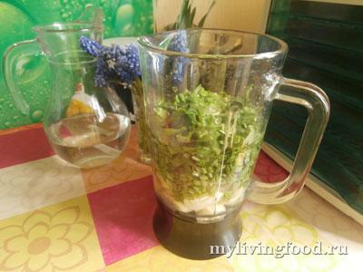 Зеленый коктейль с ботвой редиса и щавелем