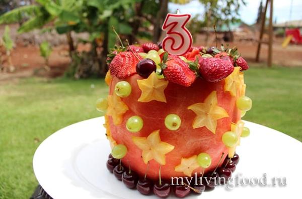 фруктовый торт на агаре ко дню рождения